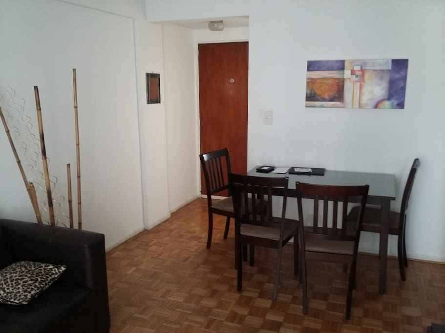 The Living Room has a two places sofa and a four chair table. A rack with cable TV (32') and wifi internet is provided. AC (cold/heat) make your stay more comfortable