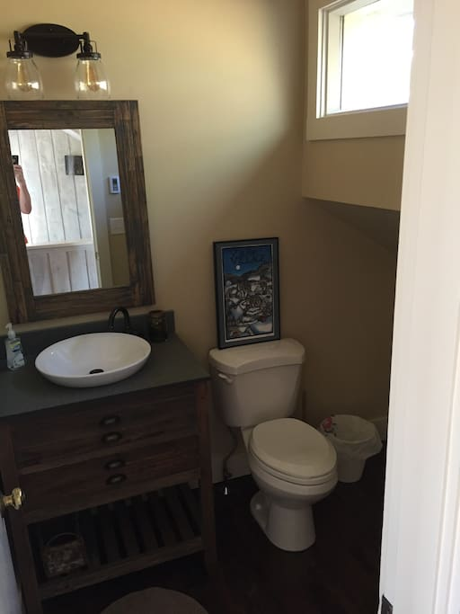 Powder room in living area