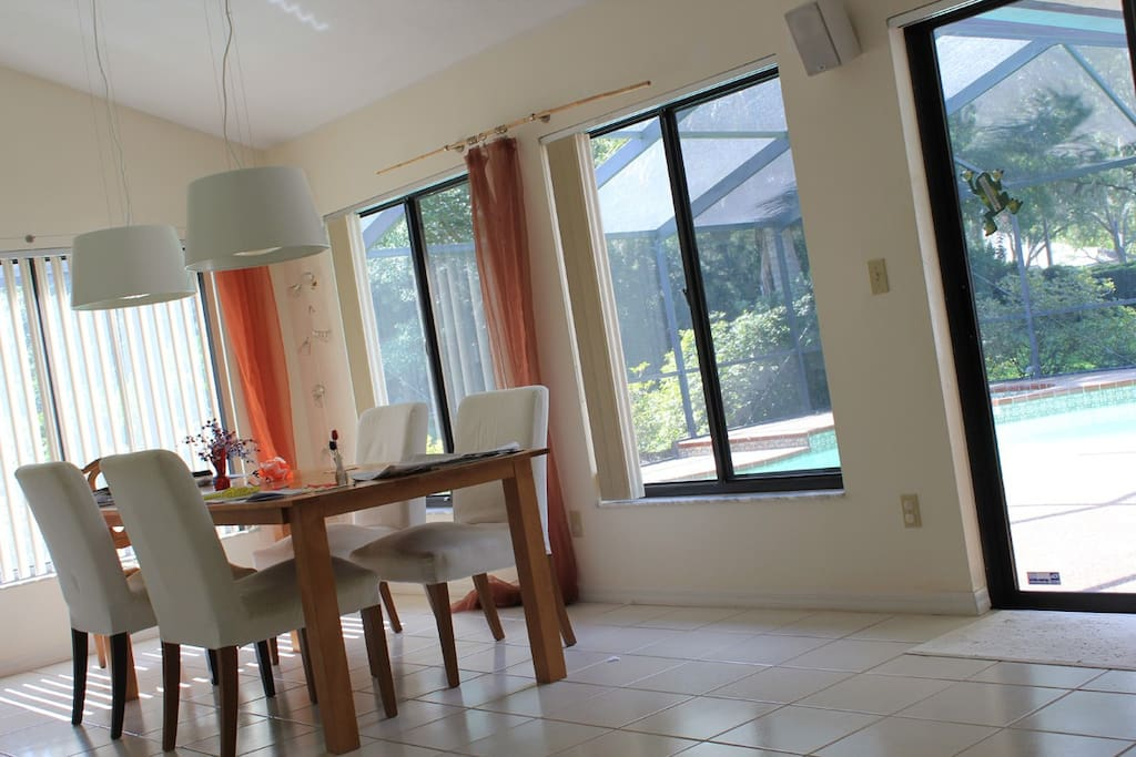 dining area with view of pool