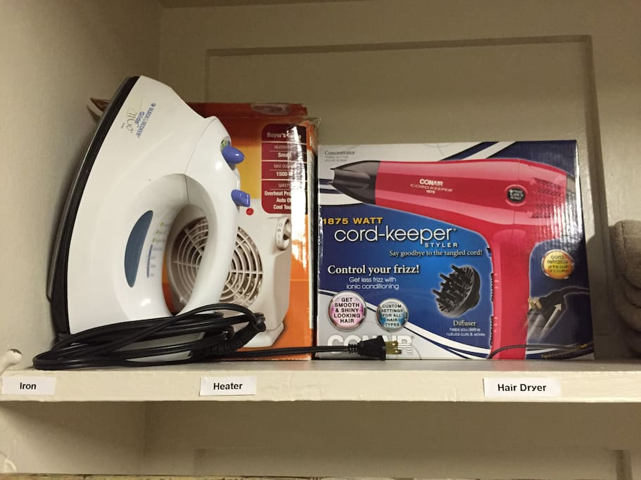 *** IRON / HEATER / HAIR DRYER *** ( provided use for the duration of your stay )