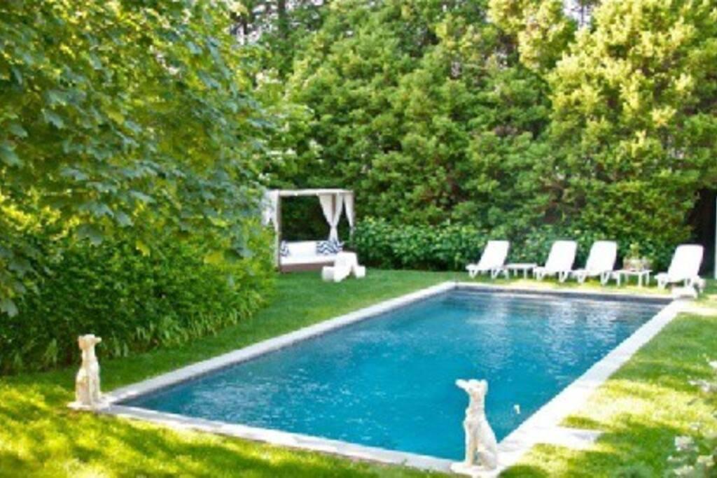 The heated saltwater gunite pool