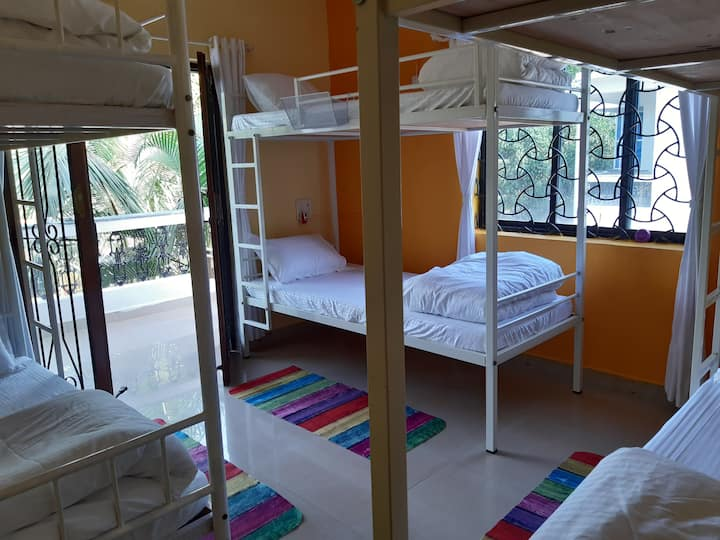 6 BED DORMITORY FOR 6 FRIENDS WITH AC AND BALCONY