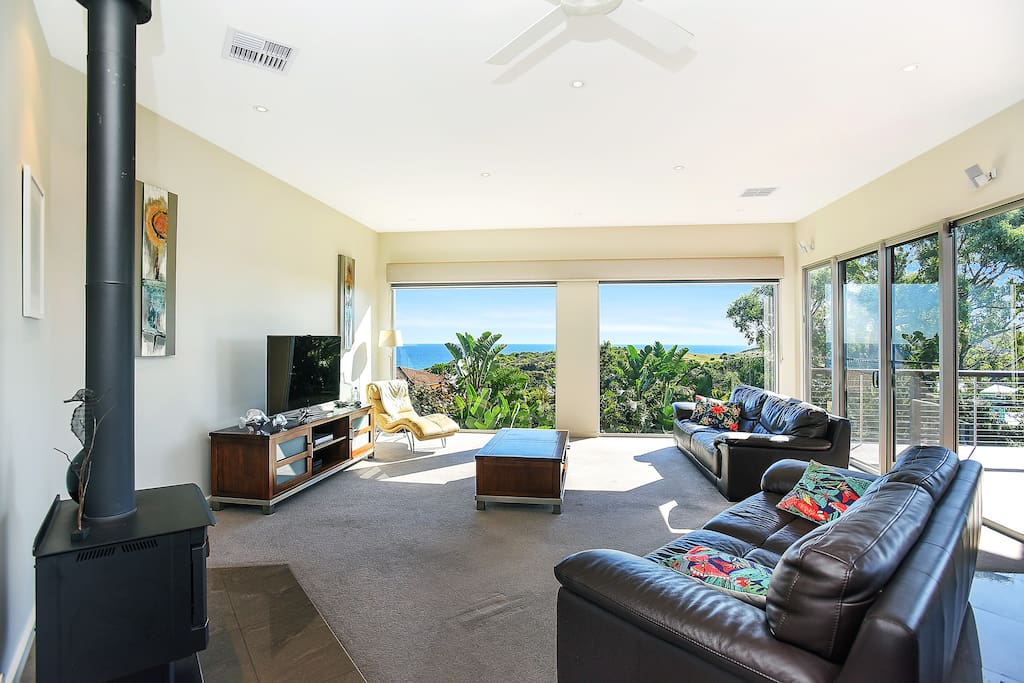 Living area with stunning sea views