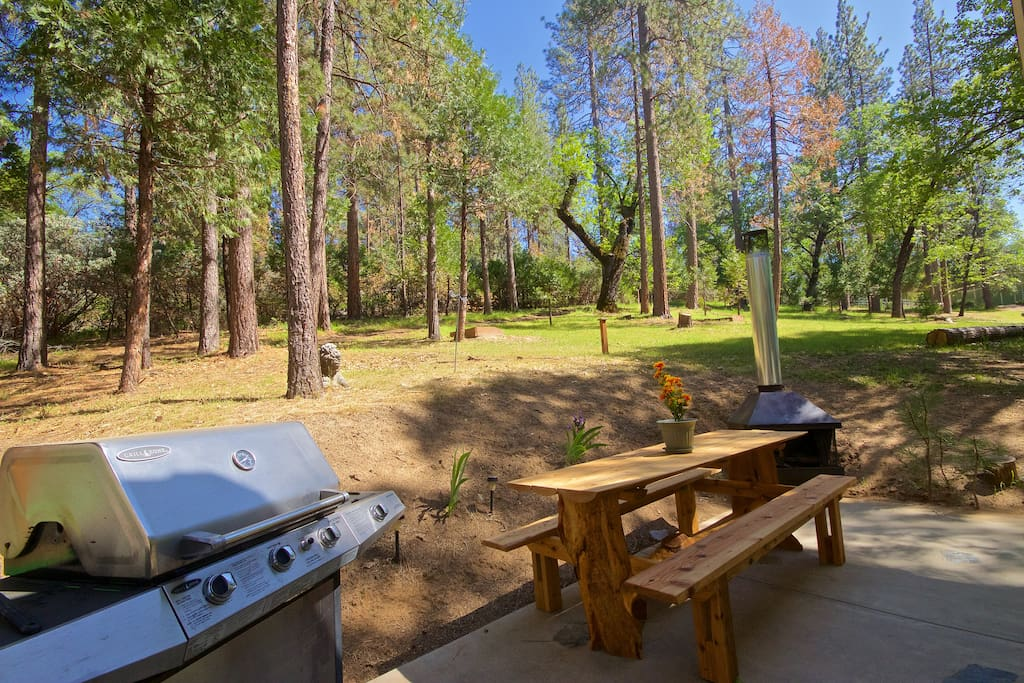 Private patio with lovely hand made picnic table and BBQ.