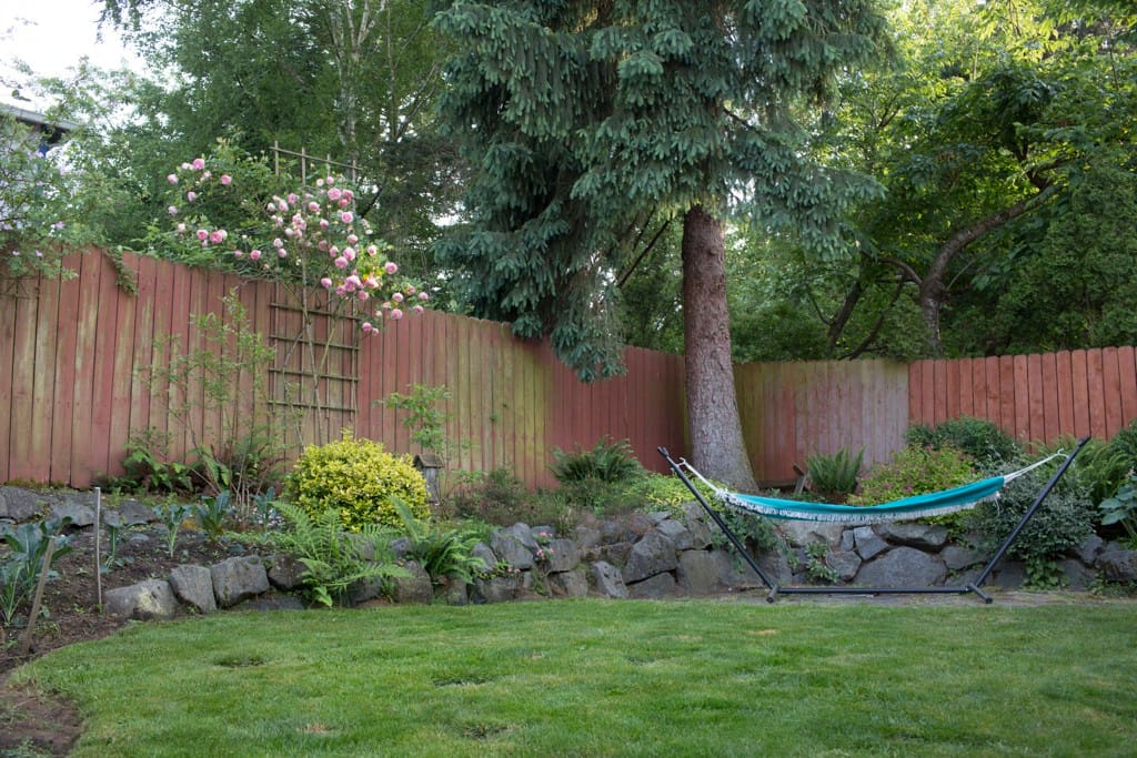 Hammock and shade trees make the garden the perfect respite.