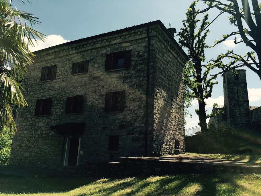 Overview on the farm house, close to the XI century sanctuary. Immersed in a very silent environment, and close to a wood, the farm house is the ideal solution for those who are looking for a quiet place to rest and relax, enjoying the nature, trekking an