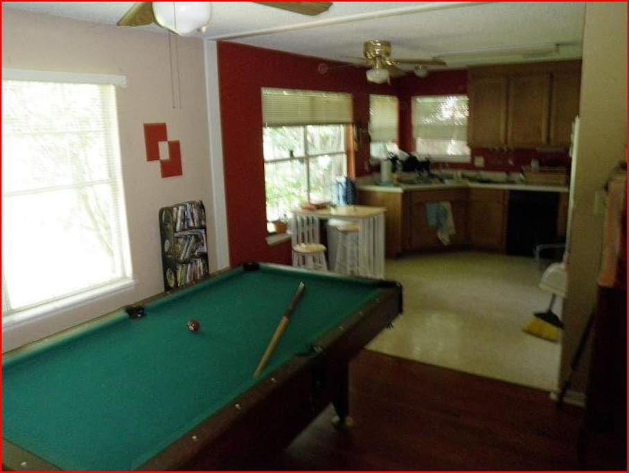 Pool table and shared kitchen