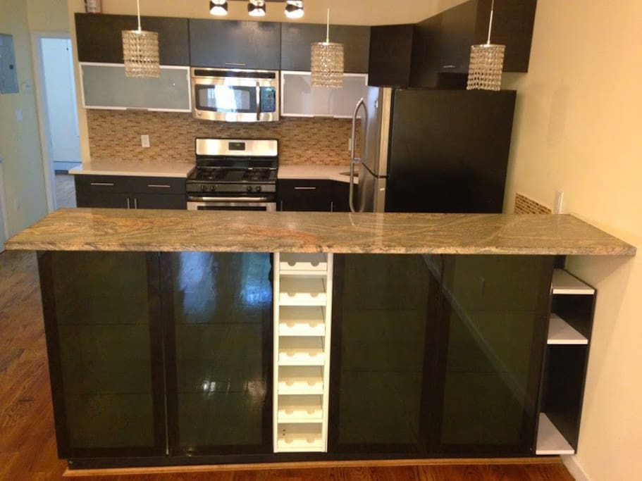 Stainless Steel modern Kitchen with granite countertops and breakfast bar