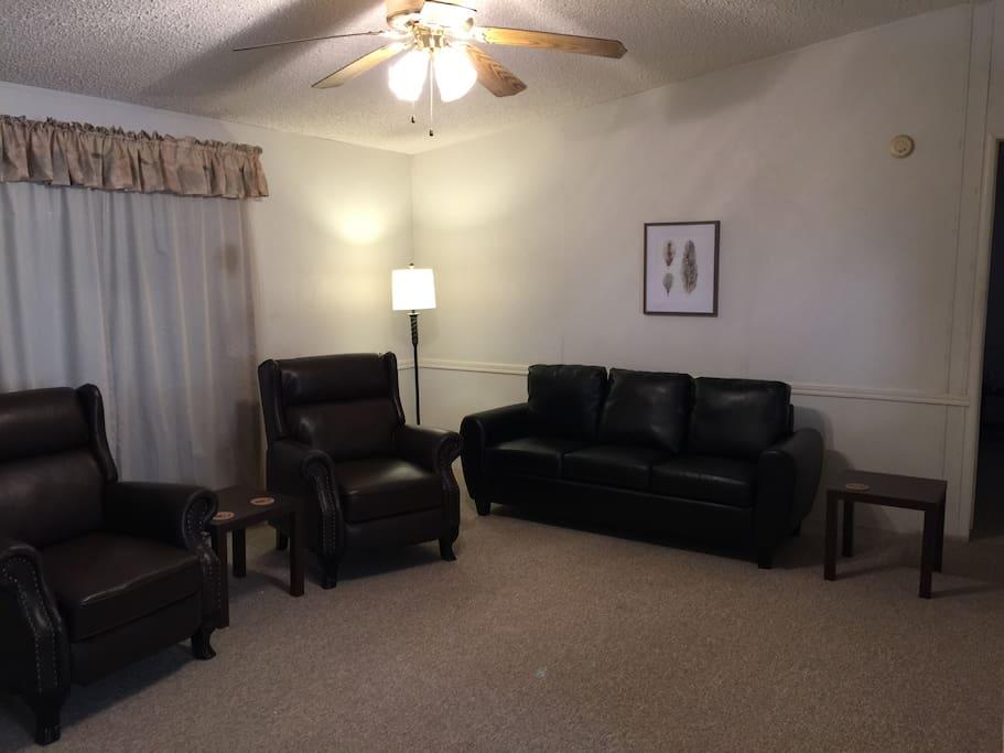 Living room furniture, 2 recliners & sofa.