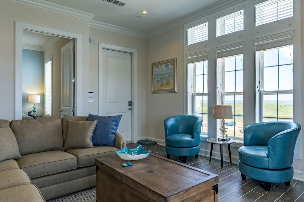 Beach blue color accents throughout this rental