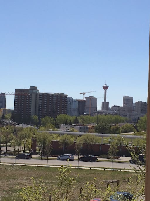 The side view from our deck towards The Calgary Tower.