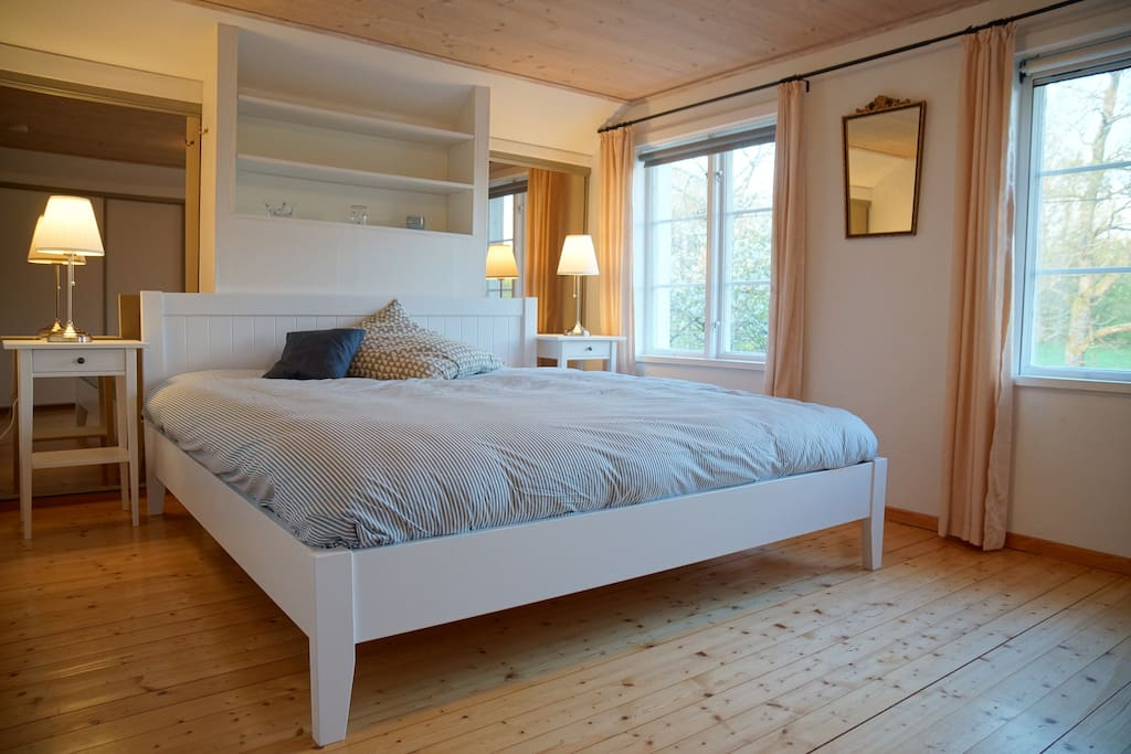 Bedroom with brand new 180cm x 200cm double bed on upper floor