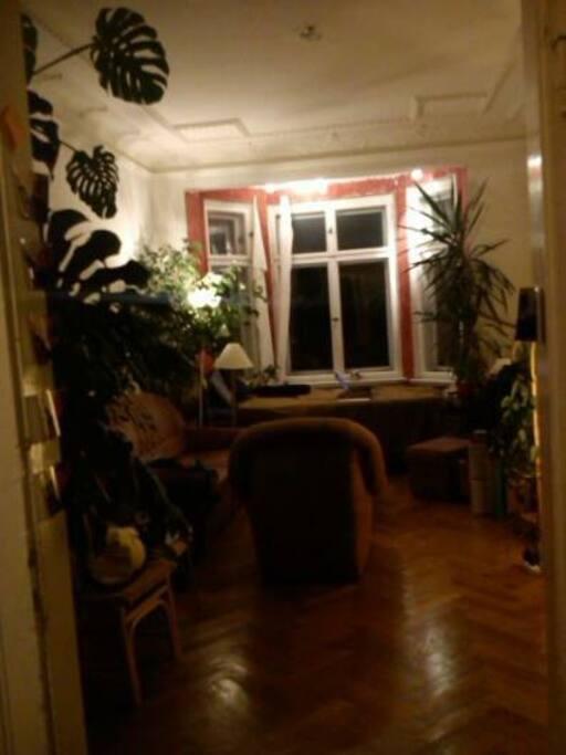 Wohnzimmer mit Erker- Blick auf die Karli