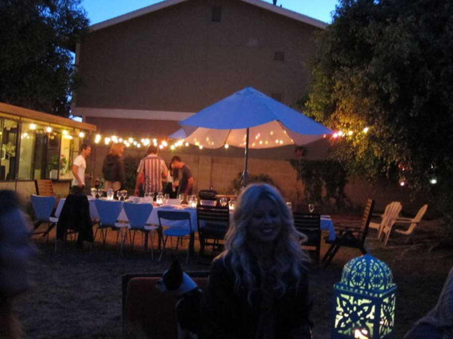 One of our friendly gatherings with old friends & new friends in our backyard.