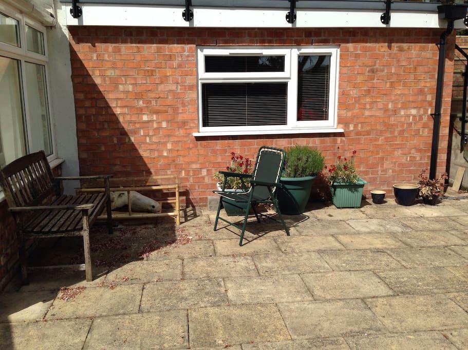 Sunny patio area