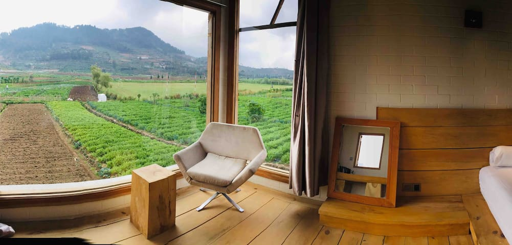 Eco wooden space & view of potato  terraced fields
