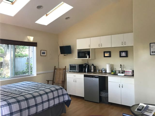 The view as you enter the french doors... Cathedral ceiling with skylights. Pillow top queen bed for a restful night sleep. Kennedy rocker to enjoy a good book and a kitchenette already for you.