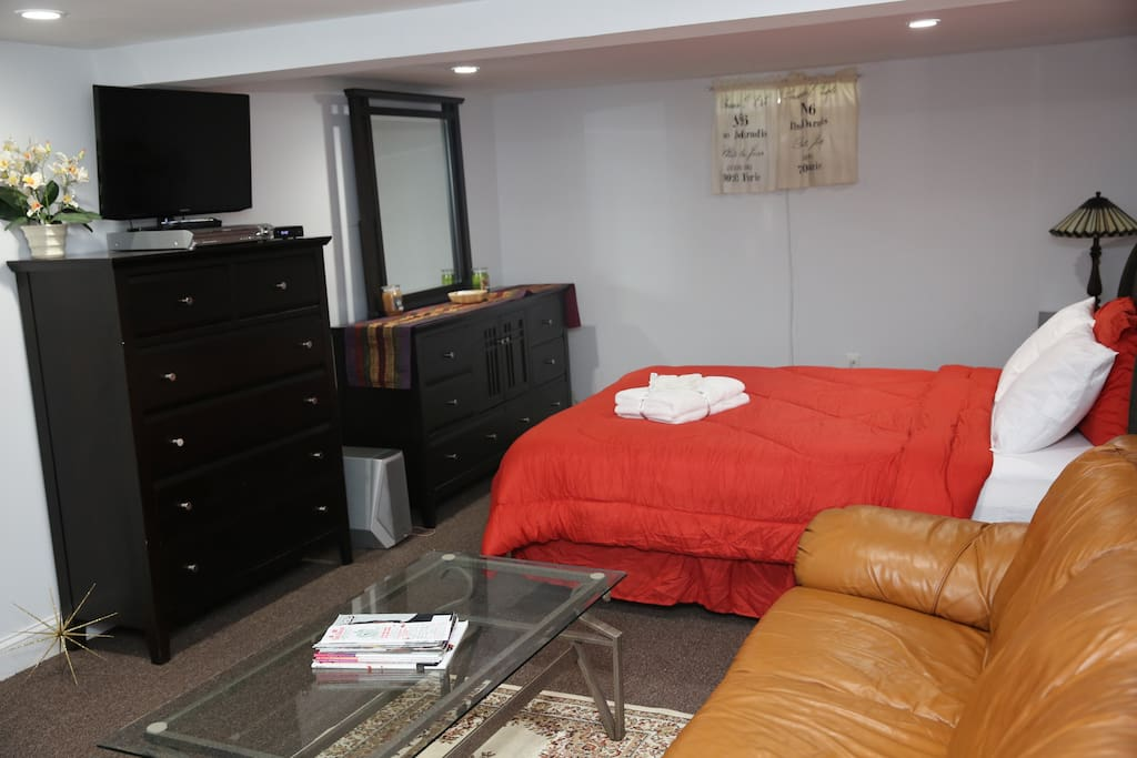 TV, dresser and armoire