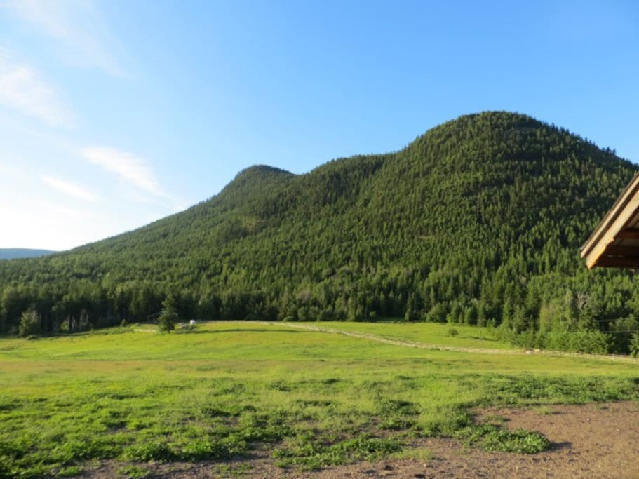 Bluenose mountain as seen from our field.  Bluenose has hiking trails