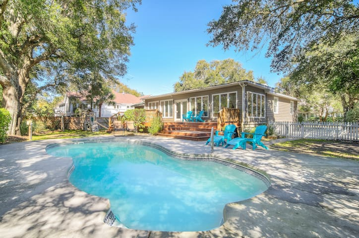 Big Home w/ Private Pool & Sunroom, Walk to Beach!