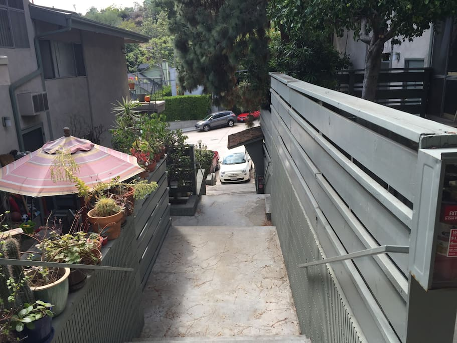 Right outside the front door located in beautiful Beachwood Canyon right below the Hollywood sign