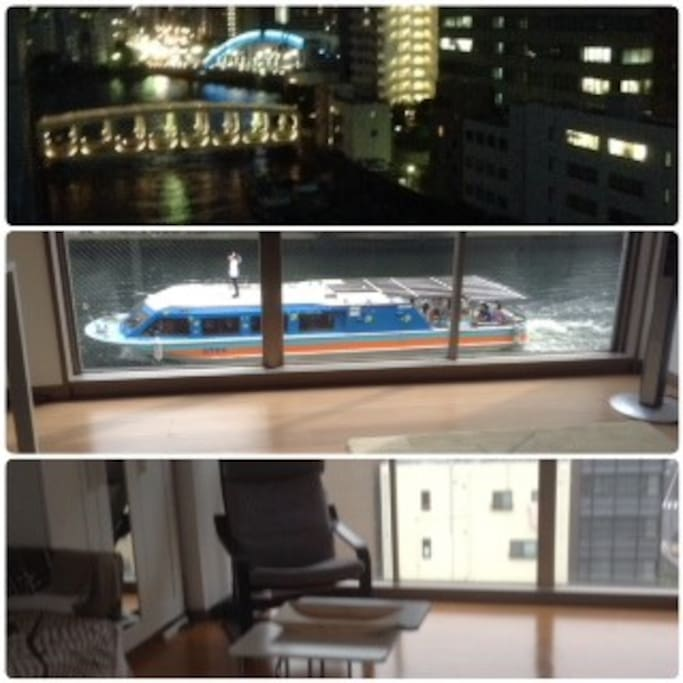 River View from Spacious apartment.  Floor to ceiling windows allows air and natural light.  You can see Tokyo Skytree from the  window on the other side.