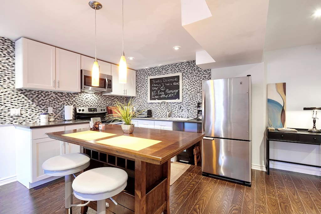 Kitchen with an island for casual dining for two  (take out or make your own)