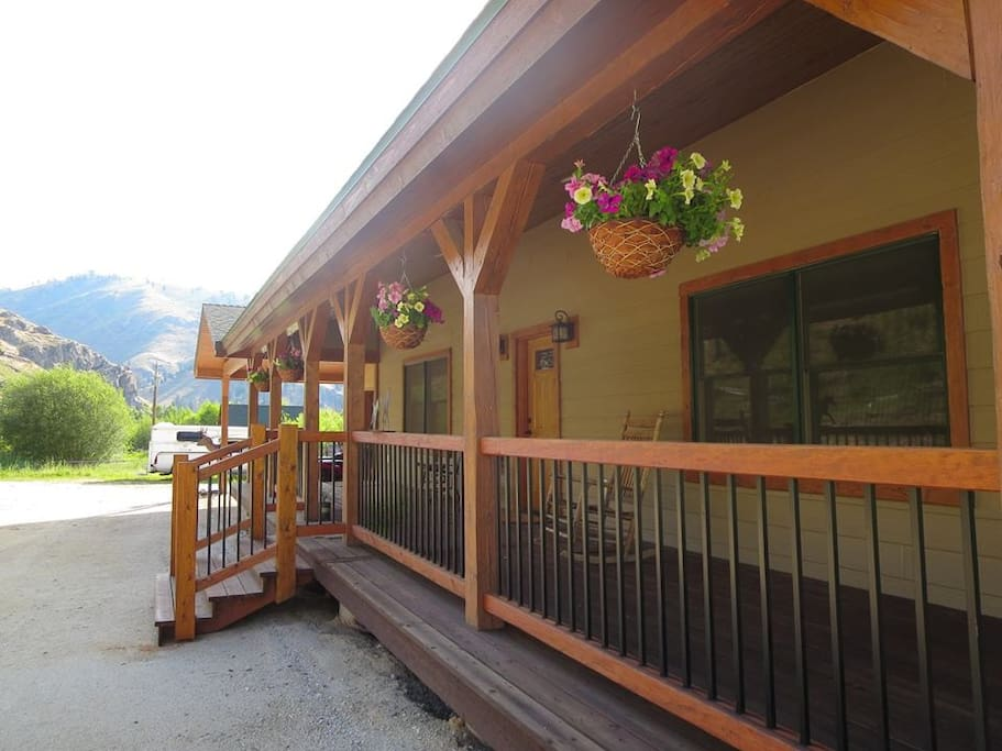This is the front entry of our home. The Sapphire Mountains are also seen.