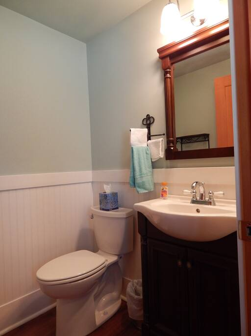 Private half bath makes getting ready for the day a breeze