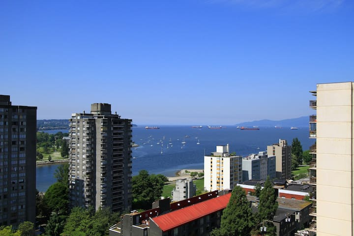 View of English Bay from deck.