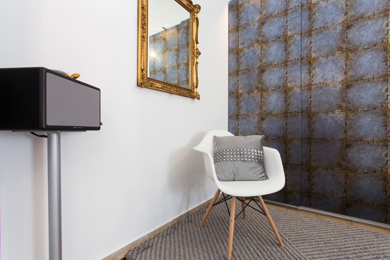 Hi-Fi system inside the room.