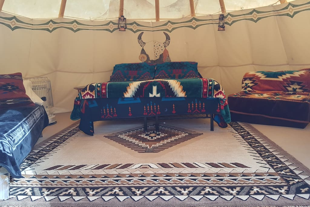 The interior of one of our Tipis.
