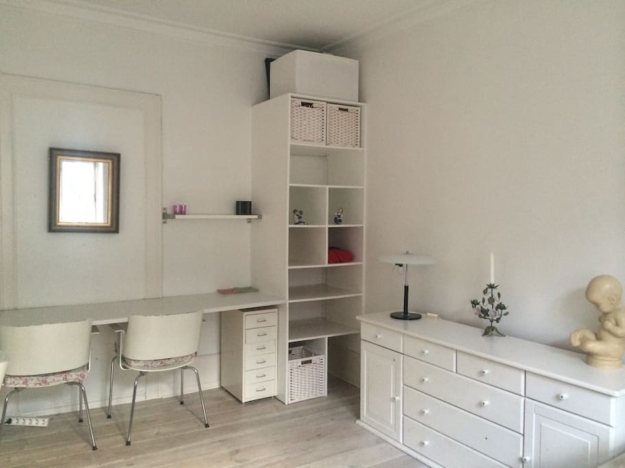 Desk to work at and shelving