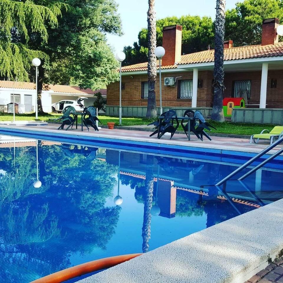Fachada Sur.  Zona de piscina y jardines