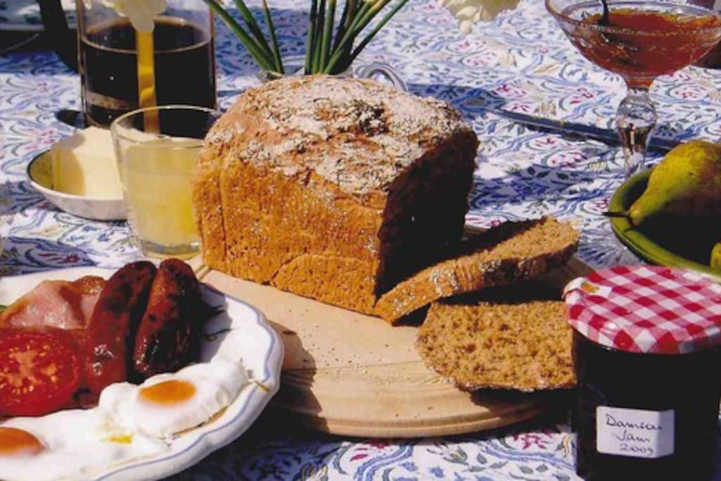 Homemade bread, jam, and eggs from our hens.