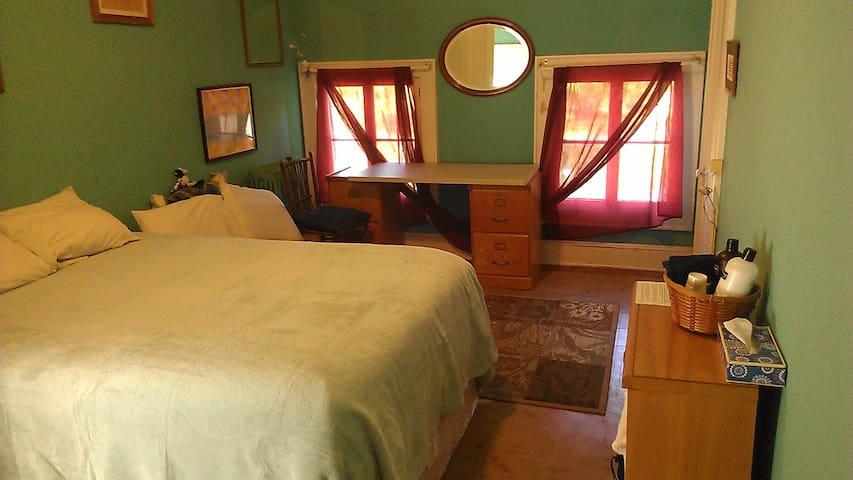 Greek Revival Farmhouse Green Room - Ithaca