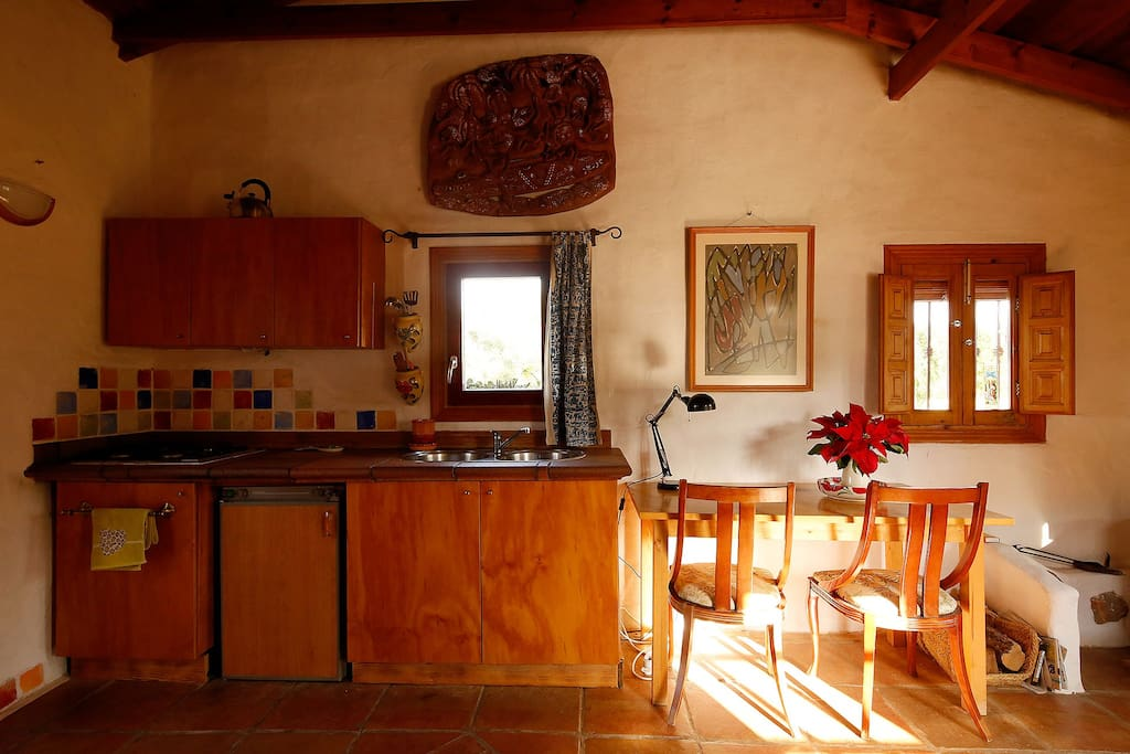 Well equipped kitchen making cooking at home easy and makes the holiday cheaper.