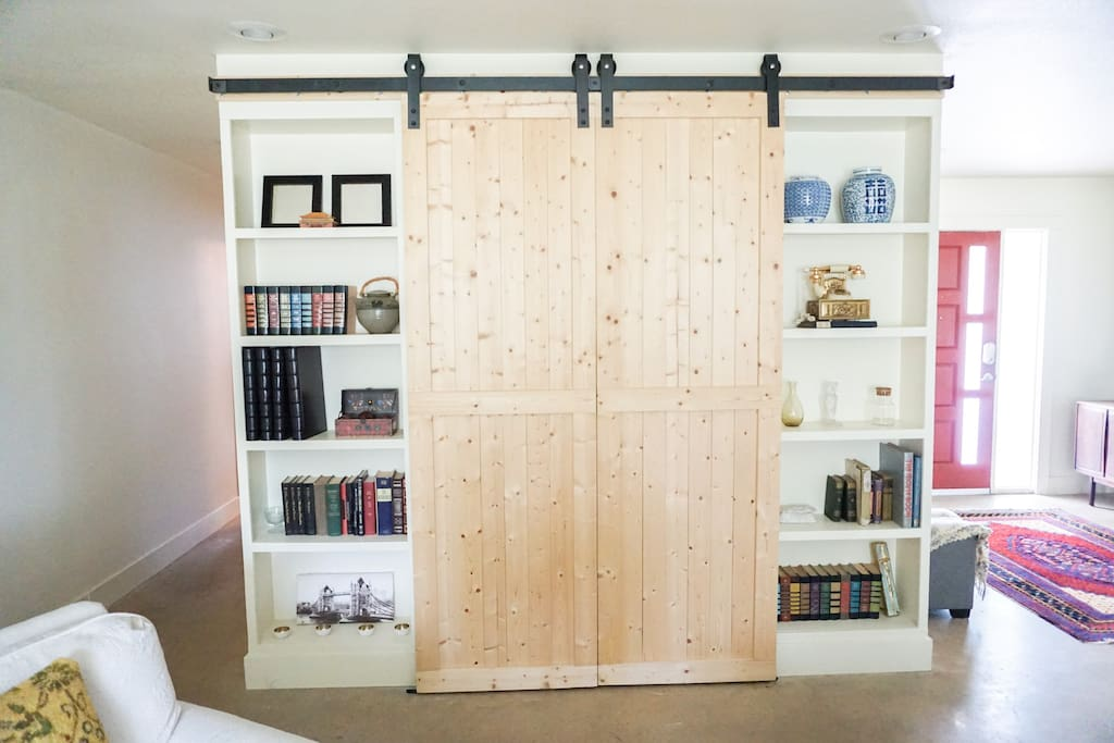 Barn doors throughout as part of modern updates.