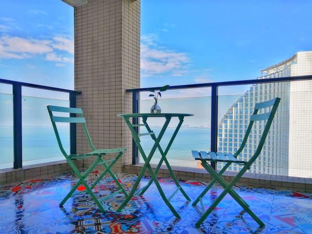 富丽华海御高层海景房一居室 电梯直达海滩 紧邻北海老街-金滩
