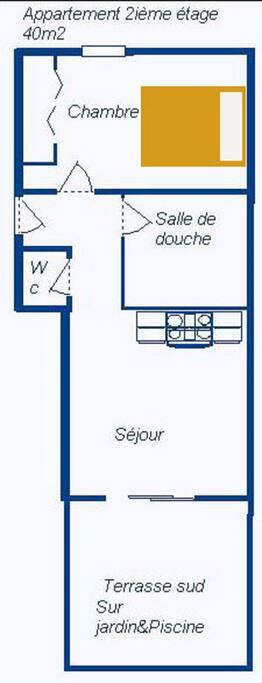 Plan de l'appartement de 41m²