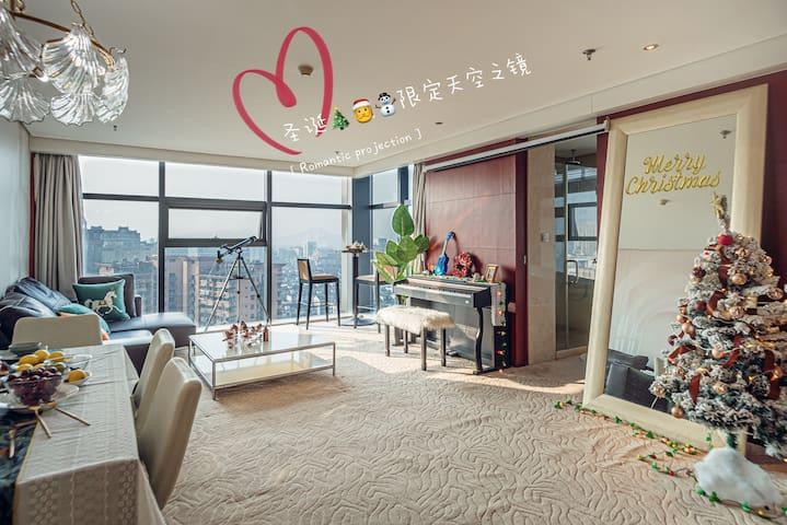 100平米超大公寓,高层俯瞰西湖,雷峰塔,杭州市区夜景无敌景观!