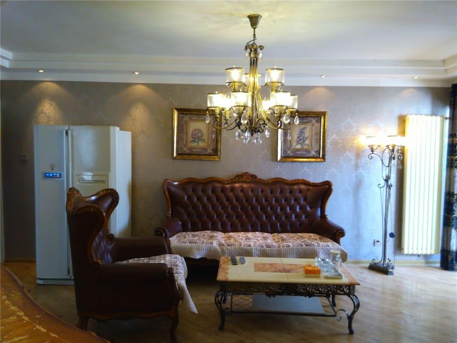客厅正面 真皮沙发