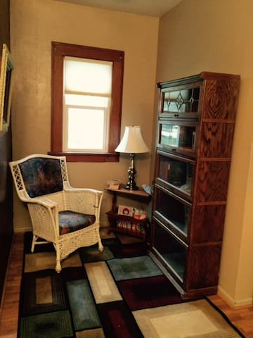 Imagine sneaking away with your morning coffee to this reading nook, stocked with interesting novels and magazines.