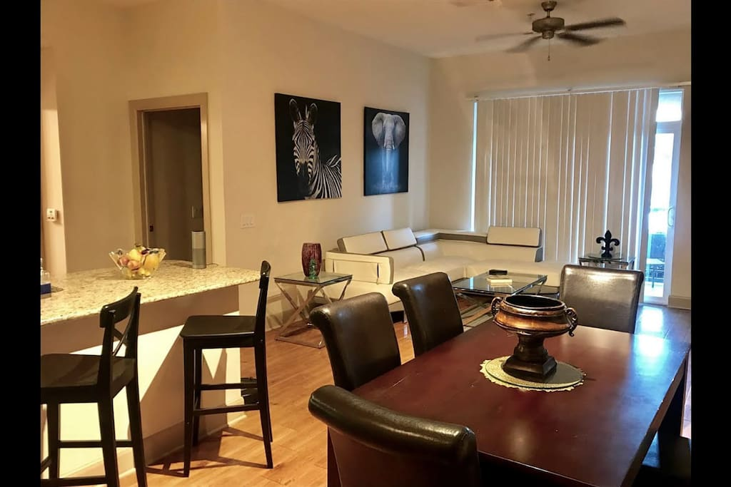 Open plan kitchen / dining / living area