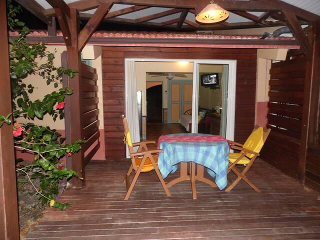 Front deck with beautiful hardwood floor