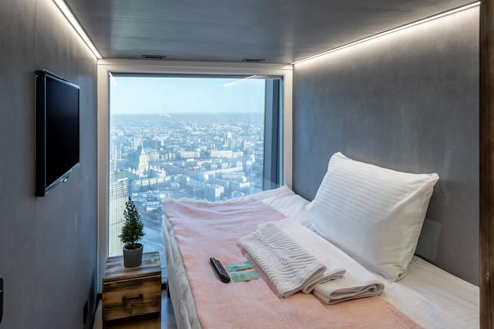 Capsule Queen in the world's highest capsule hotel