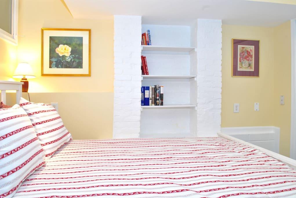Distinctive brickwork contributes to the cozy atmosphere