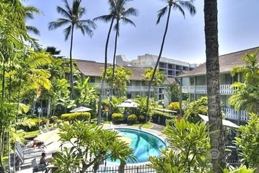 View from your 2nd floor condo's  lanai - a tropical tranquility in Olde Hawaii plantation setting!