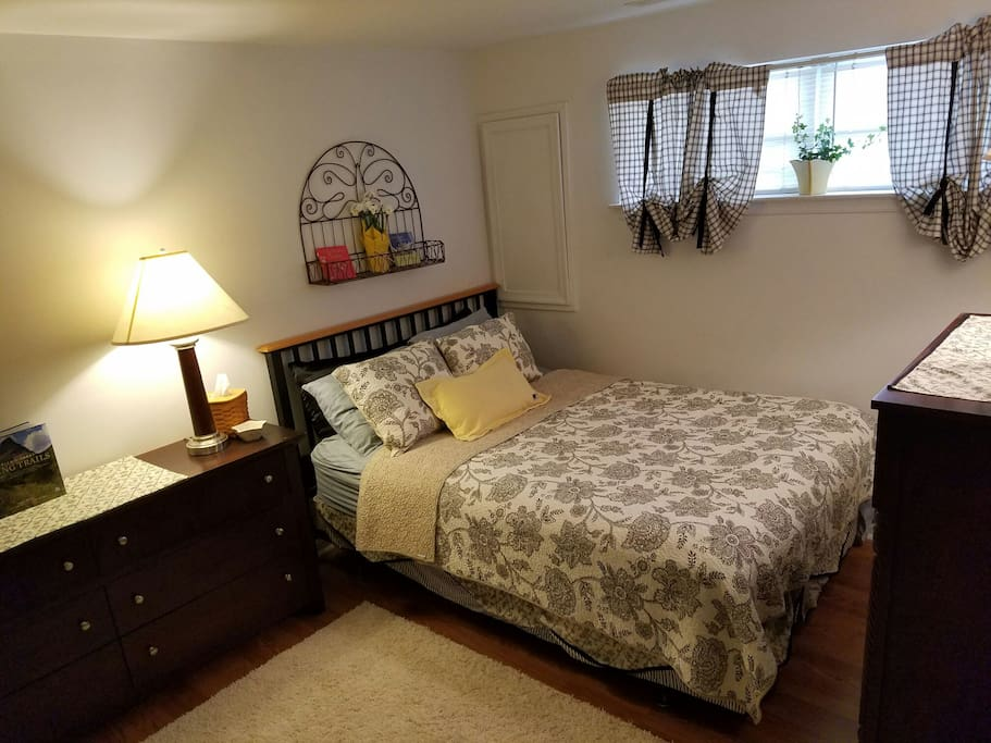 Clean,spacious room with new linens, flooring and rug. Natural light and two dressers plus partial walk in closet space available.