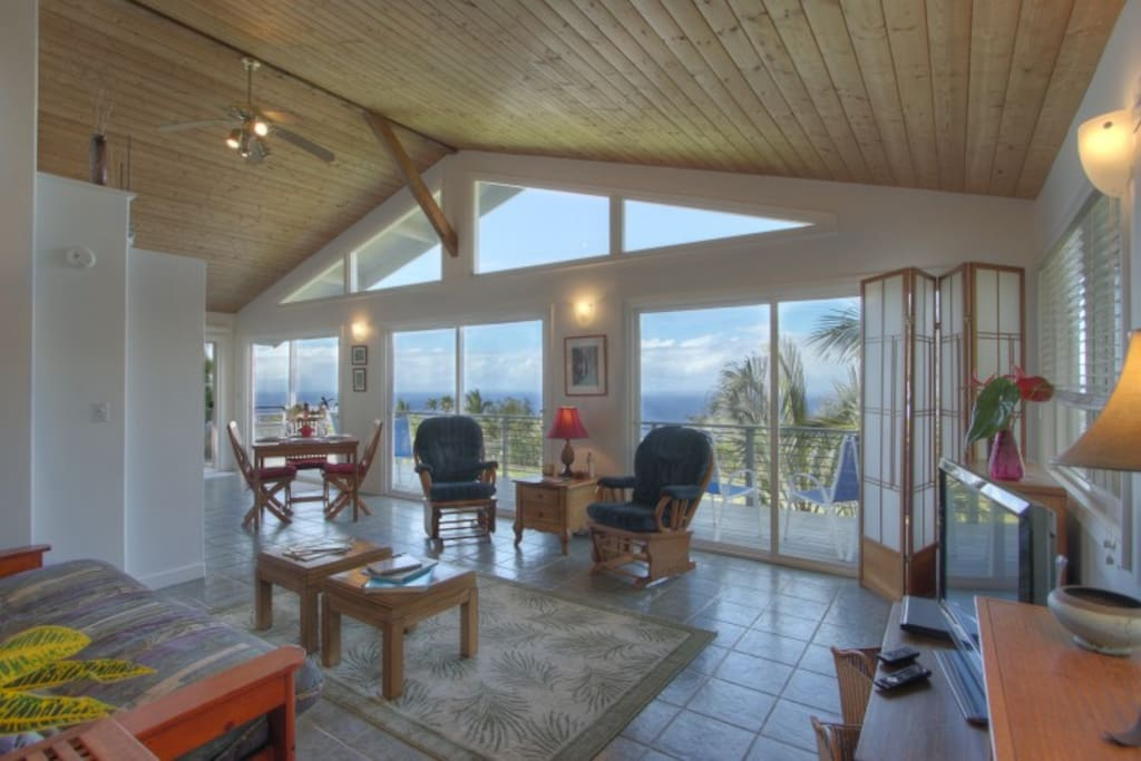 The living room has three 8ft sliding glass doors, so you can be inside and still enjoy the outside!